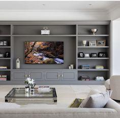 Built In Shelves Living Room, Built In Wall Units, Feature Wall Living Room, Living Room Wall Units, Living Room Tv Unit Designs, Home Living Room, Living Room Decor, Ruang Tv, Living Room Entertainment Center