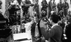 themakingofstarwars:Marquand directs Ford on the rebel briefing room set, February 25, 1982.