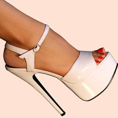 Juliet High-Heel Sandals by Ellie in white;