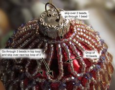 Sandra D Halpenny - Free Bead Patterns and Ideas : How to change any of my necklace patterns into an ornament cover Beaded Ornament Covers, Beaded Ornaments, Diy Christmas Ornaments, Christmas Tree Ornaments, Snowman Ornaments, Christmas Bells, Felt Christmas, Homemade Christmas, Beading Patterns Free