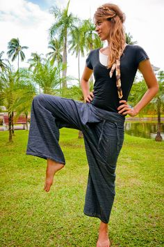 Thai Fisherman Pants, Cotton, Patterned Dark Grey UNISEX