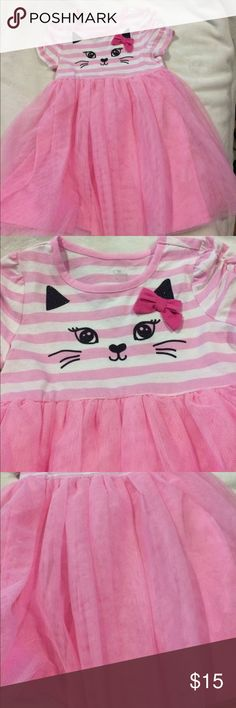 Pink tulle dress Pink and white stripes on top with kitty face and pink tulle skirt excellent condition no stains  pet free and smoke free home Children's Place Dresses Casual