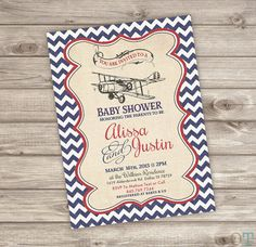 Its a boy vintage airplane baby shower invitation retro baby printable vintage airplane baby shower invitations rustic theme party baby sip and see red modern cute filmwisefo Image collections