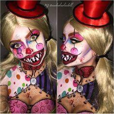 Cutesy the Killer Clown | IG @voodoobarbiedoll | Clown Makeup, Killer Clown, Scary Clown, Evil Clown, Horror Makeup, Colorful Makeup, Circus, Carnival, Halloween Inspiration, Polka Dots, Scary Mouth Makeup, SFX, Special Effects Makeup, Mehron Makeup, Paradise Paints