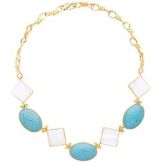 Ottoman Hands - Mother of Pearl & Turquoise Statement Necklace ($330) ❤ liked on Polyvore featuring jewelry, necklaces, chain statement necklace, blue turquoise necklace, hammered necklace, jewel necklace and turquoise necklaces