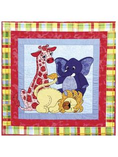 Whether you're expecting a boy or a girl, the Jungle Babies quilt pattern will fit right in any nursery!   Adorable baby animal toys -- elephant, giraffe and lion -- greet you from the appliqued center panel, surrounded by 3 borders. This baby quilt ...