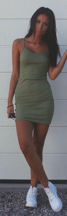 W E U N T D Olive Ribbed Little Dress Fall Inso