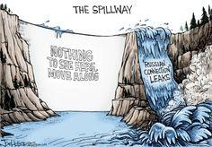 Political Cartoon U.S Flynn leaks Russia California Oroville dam spill