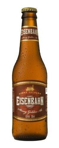 Cerveja Eisenbahn Strong Golden Ale, estilo Belgian Golden Strong Ale, produzida por Cervejaria Sudbrack, Brasil. 8.5% ABV de álcool.