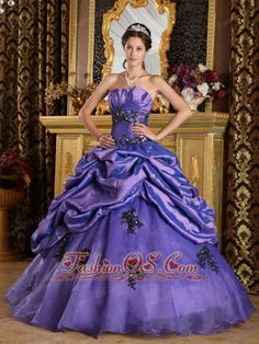 Perfect Purple Quinceanera Dress Strapless  Organza Appliques A-Line / Princess