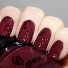 Beauty Inspiration | Dark Burgundy Nails #pmtssafavi #paul #mitchell #schools #dark #red #glitter #manicure #beauty