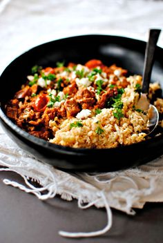 Arabic Eggplant and Walnuts with Cauliflower Couscous (vegan and gluten-free) - food to glow