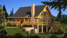 """The Berkshire"" is one of the many log cabin home plans from Southland Log Homes. You can customize the Berkshire to meet your exact needs with our free design tools."