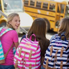Monogrammed Stripe Campus Backpack from Marleylilly.com! #backtoschool #backpack #school