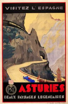 Lot: Travel Poster Visit Spain Asturias Art Deco Cars, Lot Number: 2305, Starting Bid: £500, Auctioneer: AntikBar, Auction: Original Vintage Posters, Date: April 22nd, 2017 BST