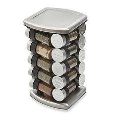Add some spice to your pantry with this attractive stainless steel spice rack that holds 20 of the most popular gourmet spices. Watch as the stylish jars revolve right before your eyes, making picking out the spice of your choosing, fast and easy.