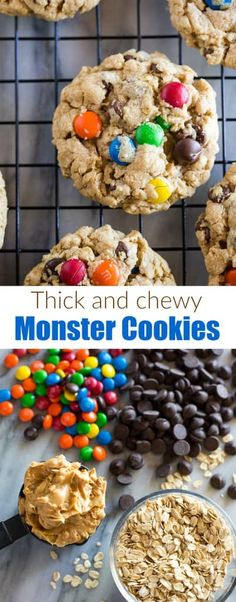 Soft and Chewy Monster Cookies made with M M candies and chocolate chips are an easy cookie recipe that is sure to be a huge hit with family and friends monstercookies easy soft chewy via betrfromscratch Brownie Cookies, Chocolate Chip Cookies, Chocolate Cookie Recipes, Cake Mix Cookies, Easy Cookie Recipes, Cookies Et Biscuits, Cupcakes, Chocolate Chips, Cookies Soft