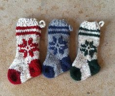 Mini Christmas Snowflake Stocking Ornament by Amazingknits on Etsy, $8.00