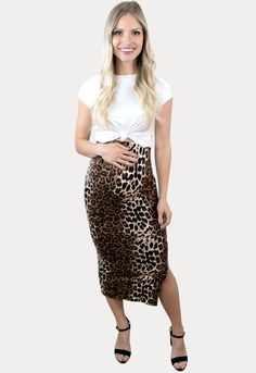 Leopard Midi Maternity Skirt - Sexy Mama Maternity Maternity Skirt, Maternity Outfits, Midi Skirt, Sequin Skirt, Pregnancy Months, Room To Grow, Sexy Skirt, Best Mom, Curves