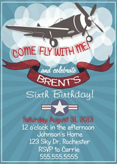 Vintage Style Airplane Birthday Invitation--Digital Download or Printed Option