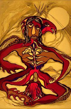 Thunderbird Man by Daphne Odjig Native Canadian Artist kK Native American Artists, Canadian Artists, Daphne Odjig, Woodlands School, Native Canadian, Woodland Art, Small Drawings, Aboriginal Art, Native American Art