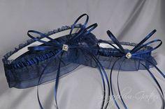 Wedding Garter Set in Navy Blue with Swarovski by sugarplumgarters, $38.99