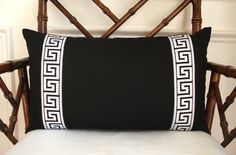 Greek key pillow cover.  Black linen pillow cover with applied black and white greek key trim. by drkdesigns on Etsy