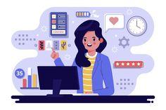 Illustration of multitasking concept , Illustrations, Flat Illustration, Character Illustration, Coffee Illustration, Powerpoint Design Templates, Creative Powerpoint, Animation Library, Design Plano, Adobe Illustrator Tutorials
