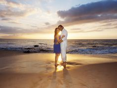 Couples photography at a world-class beach during sunset is a fun activity with a take home product treasured for years and years. See more of this photo shoot at: http://mauiislandportraits.com/couples-portrait-photography-kamaole-iii-beach-park/