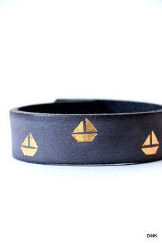 Lederarmband+ONCE+UPON+A+TIME+boats+-+pacific+blue+von+-OiNK-+auf+DaWanda.com
