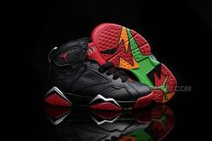 purchase cheap e80bd 106b7 Air Jordan 7 VII Retro Marvin The Martian Black University Red Poison Green  304775 029 Kids Shoes