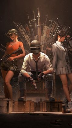 Lovely PUBG, Helmet Guy With Girls, Guns Throne, Video Game, 1080x1920 Wallpaper