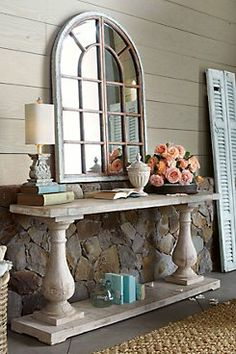 Inspired by an antique Provencal trestle table, our Camille Console table is made of rough-hewn, reclaimed pine and supported by antiqued, hand-turned balustrades. - @Soft Surroundings - $899.95