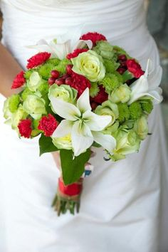 Red and green wedding flowers - love these but change from red carnations to somewhere else