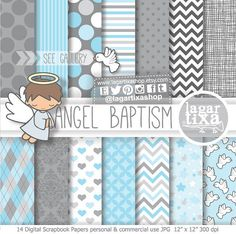 Angel Baptism, Digital Paper, Clipart, Clip art, Baby Blue, Gray, Grey, Chevron, Damask, Polka dots, First Communion, Holy Spirit, Frames