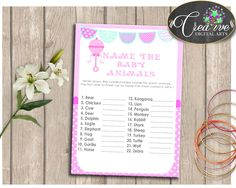 Baby Rattle Pink Baby Shower Pacifier Baby Shower Pastime Name Baby Animals NAME THE BABY Animals, Shower Activity - bsr01 #babyshowerparty #babyshowerinvites