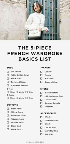 5 Piece French Wardrobe Basics List