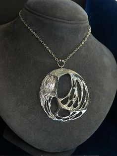 Finnish necklace in silver from the 70s. Large and powerfull piece.    Stamped: 925H, Turku, T7 (1972 years), Valon Kulta & Hopea 1961-71, import stamp three crowns, S.  Height of the pendant: 8 cm  Width: 6.5 cm  Chain: 70 cm  weight: 33.5 gr