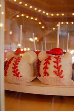 Baseball Mickey Caramel Apples! i will be doing this for my son's birthday party.