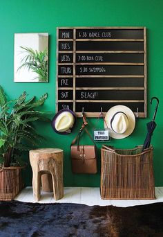 Organize your family with a divided chalkboard calendar with hooks. Free DIY plans and tutorial on Bedroom Green, Green Rooms, Bedroom Wall, Kids Bedroom, Chalkboard Calendar, Diy Chalkboard, Chalkboard Drawings, Chalkboard Lettering, Black Chalkboard