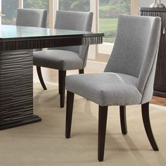 Dominic Grey Curved Nailhead Upholstered Dining Chair (Set of 2) | Overstock.com