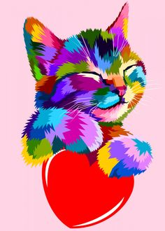 The Smiling Cat Hug The Heart Of Love Stock Vector - Illustration of animal, drawing: 118291929 Arte Pop, Animal Paintings, Animal Drawings, Colorful Animals, Cute Animals, Art Mignon, Cat Hug, Smiling Cat, Cat Posters