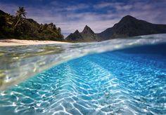 Beautiful clear water at Ofu Island American Samoa