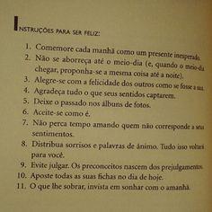 Instruções para ser feliz.
