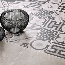 Cementine Black and White Porcelain Deco Tile Decorative Tile, Marrakesh, Porcelain Ceramics, White Porcelain, Tile Floor, Arizona, Flooring, Black And White, Wall