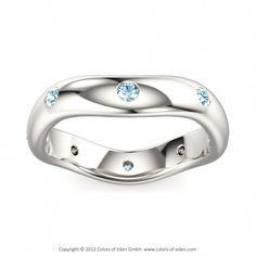 Aquamarine Wedding Band Emotions #aquamarine #gold #ring