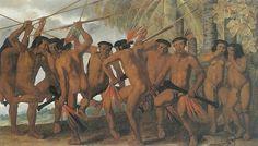 """O pintor Albert Eckhout (1610-1666) veio para Pernambuco em 1637, na comitiva de Maurício de Nassau, com a missão de retratar o Novo Mundo, seus habitantes, sua fauna e sua flora. A """"Dança dos Tapuias"""", uma de suas obras primas, encontra-se atualmente no Museu Nacional de Dinamarca"""