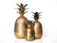 Vintage 7 Brass Pineapple Container by thewhitepepper on Etsy