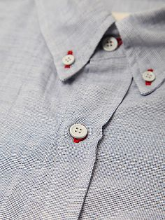 Band Of Outsiders Box Weave Shirt with red button hole stitching.