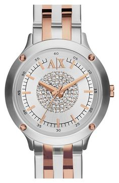 AX+Armani+Exchange+Pavé+Dial+Bracelet+Watch,+30mm+available+at+#Nordstrom